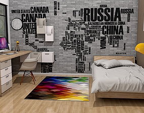 modern teenage room 3D model