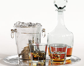 3D Whiskey Decanter Glass Tray Set