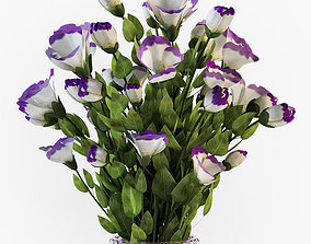 Eustoma flowers in vase 3D