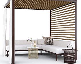 3D model Garden arbor with sofa Kettal Pavilion Gazebo