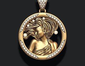 Horoscope Virgo pendant with gems 3D printable model