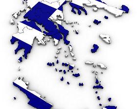3D model Political Map of Greece