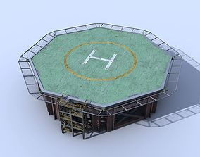 3D asset Helicopter industrial landing pad - helipad -