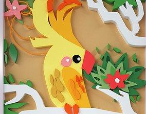 3D Paper cutting cartoon parrot cartoon
