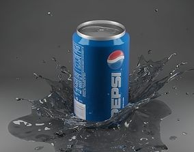 3D model Splash 09 with can