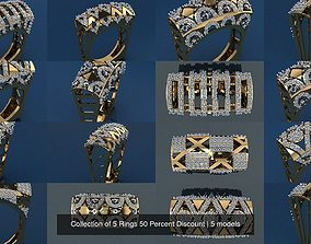 3D model Collection of 5 Rings 50 Percent Discount