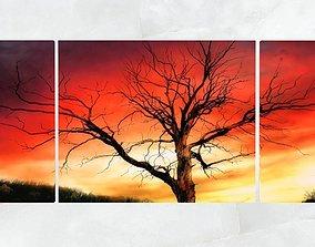 3D asset Triptych Wall Art Tree At Sunset