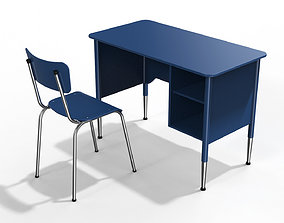 Generic School Desk and Chair 3D model