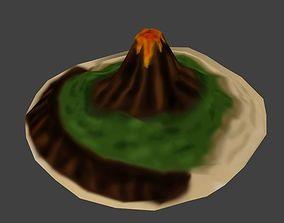 Low poly Volcano Island 3D model