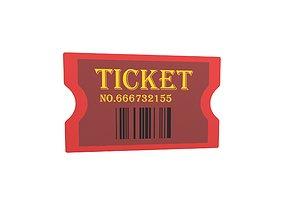 Cartoon Ticket v2 002 3D model