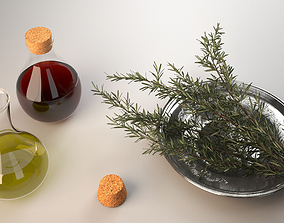 Bottles of olive oil and vinegar with rosemary 3D