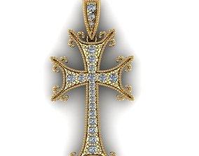 gold jewel Cross 3D print model