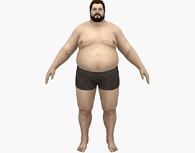 Fat Man 3D model rigged low-poly