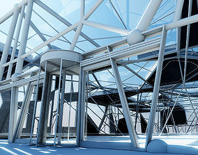Futuristic Building Interior Exterior 3D model