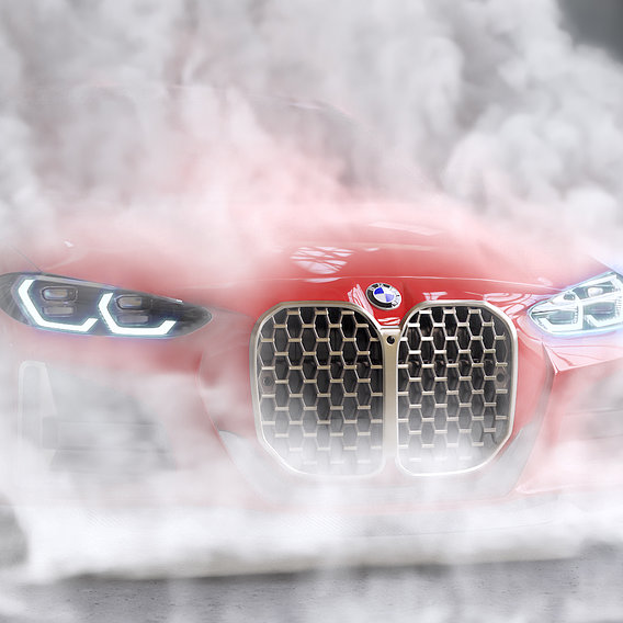 Red Sport car burnout