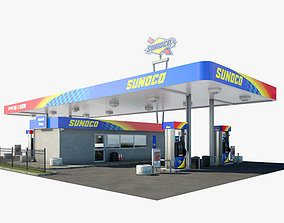 Sunoco gas station 001 3D