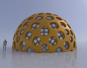 Geodesic Dome Like structure with round perforations 3D