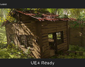 3D model VR / AR ready Destroyed Old House Hut - D