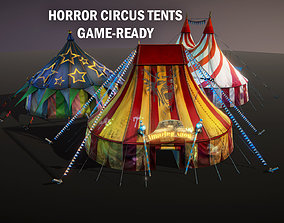 3D asset low-poly Horror circus tents