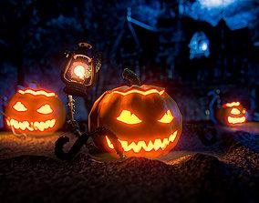 3D model VR / AR ready evil Halloween Pumpkin