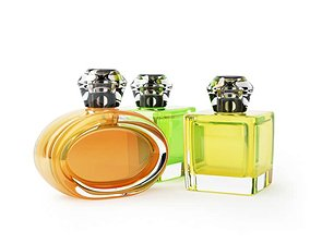 3D Perfume Bottles Yellow Orange Green