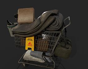 3D model Homeless shopping cart Gameready Prop