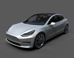 Tesla Model 3 Low Poly 3D asset