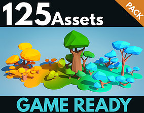 3D asset Trees and Bushes Pack - 02
