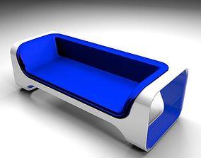 Blue sofa 3D model lowpoly