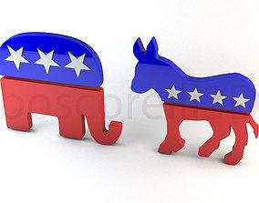 3D republican Democrat and Republican Party Symbols