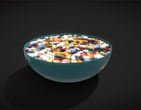 Bowl full of pills 3D model
