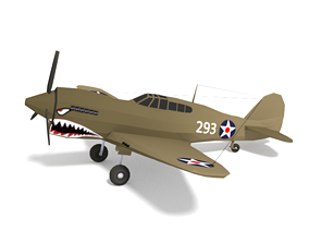 Low Poly Curtiss P-40 Warhawk Airplane 3D asset