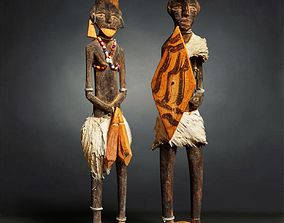 3D model low-poly Primitive Sculpture Couple