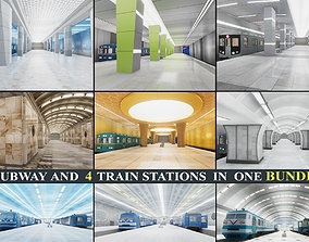 Subway and Train Stations Bundle - 10 Scenes 3D model