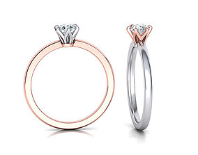 Elegant solitaire ring with 6 claw setting 3dmodel