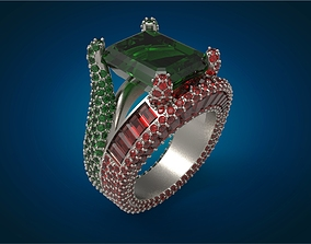 Stylish Pave gemstone ring luxury 3D print model