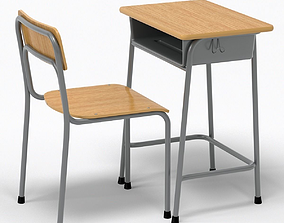 School Desk and Chair 3D