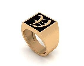 3D printable model Old English Letter Ring V