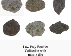 Low Poly Boulders with moss Collection 3D asset
