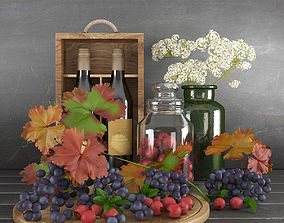 3D model Decorative set with grapes and paradise