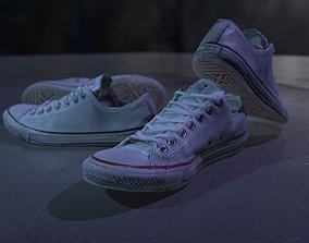 3D model White All Star shoes HD Photoscanned PBR 4k with