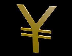 3D model game-ready Low poly yen symbol