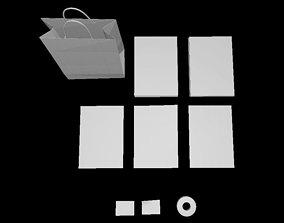 3D asset low-poly Clean paperSet D180306