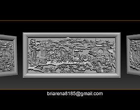 Mural landscape wood carving file stl OBJ 3D print model 4