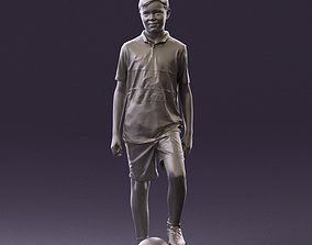 Soccer boy in red form with ball 0898 3D Print