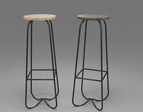 Bar Stool with Steel Legs 3D model