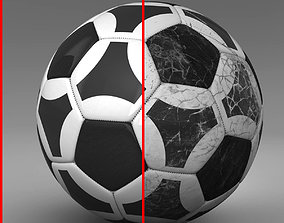 Soccerball black white triangles 3D asset