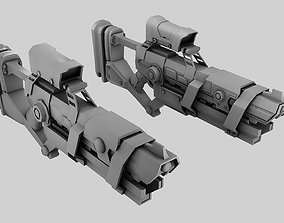 Sci-fi Gun Low and High Poly 3D