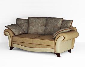 Low poly fabric sofa 3D asset