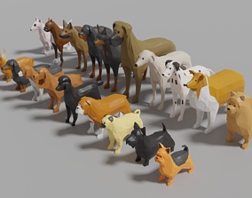 Dog Pack 3D asset game-ready